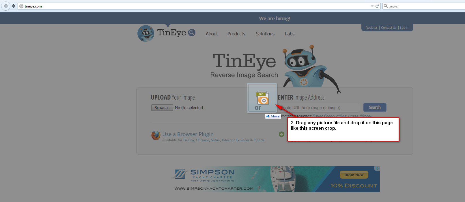 How to check copyright pictures using tineye review system