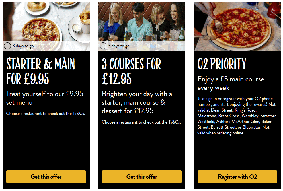 Pizza Express are continually doing online marketing to target sections of their customer base