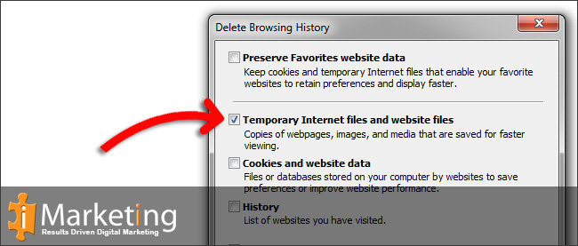 Step 4 Select Temporary Internet files and website files from the list