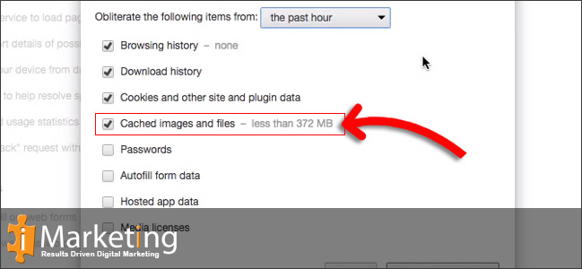 Step 4 Select Cached images and files from the list.
