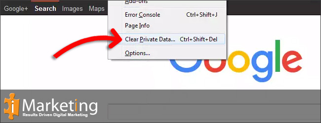 Step 1First click Tools and then Clear Private Data