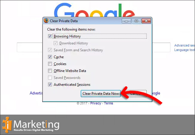 Step 2Make sure the Cache checkbox is selected then Click on Clear Private Data Now under Cache
