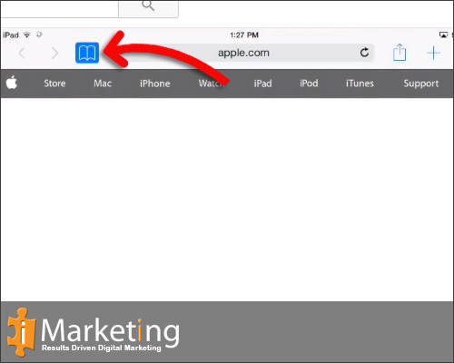 "Select the ""Bookmarks"" on left corner of browser, it looks like and open book."