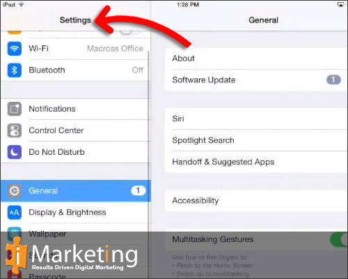 "Once opened settings, Scroll down the list on the left side until you find ""Safari"""