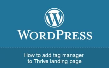 How to add tag manager to thrive landing page