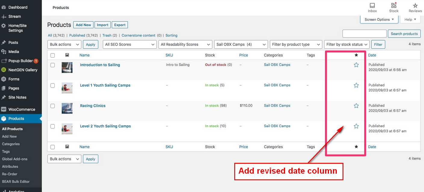 Add edited date column on product page